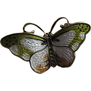 HROAR PRYDZ Norway Sterling Vermeil and Earth Tones Enamel Small Butterfly Pendant with ...