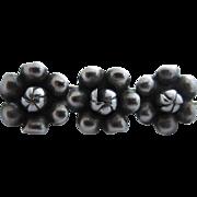 Triple Flower Sterling Silver Barrette