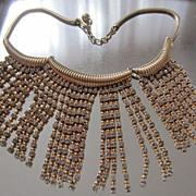 SALE Fabulous NAPIER c. 1950's Faux Gold & Diamonds Fringe Necklace, Book Piece