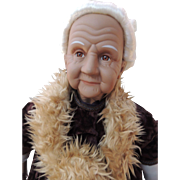 REDUCED Bisque Elderly woman artist doll.