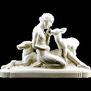 SALE SARREGUEMINES French Art Deco Ceramic Sculpture 1925