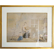 """SALE James WARD Antique Watercolor """"The Fisherman's Family"""" 1830-1840"""
