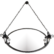 SALE French Art Deco Oval Wrought-iron Wall Mirror 1930