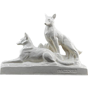 SALE François LEVALLOIS French Art Deco Crackle Glaze Ceramic Couple of German Shepherds at .