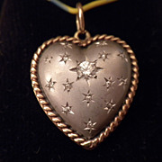 ESTATE Vintage 14kt White & Yellow Gold & DIAMOND Puffy HEART Pendant