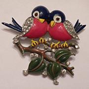 SALE VERY RARE Vintage TRIFARI Enamel & Rhinestone Love Bird Fur CLIP Pin