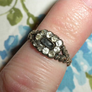 SALE GEORGIAN 1720 - 1750 Antique GOLD Silver & PASTE Stone Ring - Very Scarce