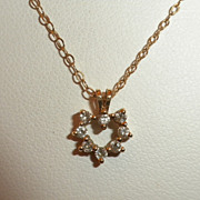 SALE SWEETEST Vintage 14kt Yellow Gold & Diamond HEART Pendant Necklace - W/ Chain