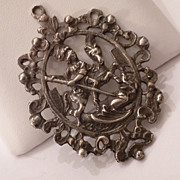 ORNATE Vintage Italian 800 Silver St George & Dragon Necklace PENDANT