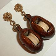 SALE MOST UNUSUAL 1950's Vintage Miniature Wooden Pulley 14k Gold Earrings