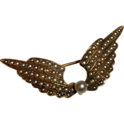 ART NOUVEAU 1910 Antique 14kt Gold & Seed Pearl Figural WINGS Watch Pin