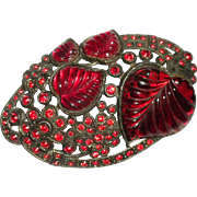 MOST Fantastic 1930's Vintage RED Rhinestone Pin Signed by LITTLE NEMO