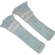 SOLD Pair Vintage Silky Doll Socks Blue with White Stripe
