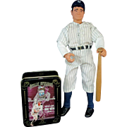 SALE 12 inch Babe Ruth Doll with Embossed Metal Collector Cards