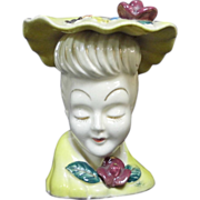 """5"""" White Skin Gold Accents Lady Head Vase with Hat Minnie Pearl"""