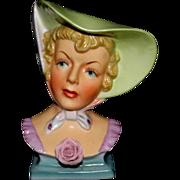 Beautiful UOAGCOCHINA Lady Head Vase Hat Scarf Rose