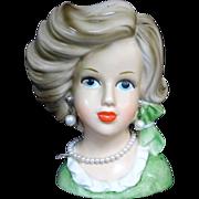 Stylish Relpo 2163 Teen Lady Head Vase Great Wave Pearl Accesssories