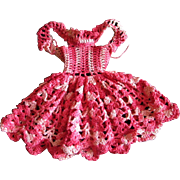 REDUCED Vintage Multi Pink Crocheted Doll Dress for Vogue Jill or Jan or other