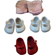 Set of Three Pair Marked Ginny Shoes Red White Pink socks