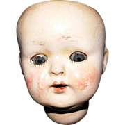 REDUCED Socket neck Papier Mache Baby head with sleep eyes