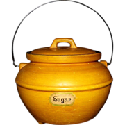 SALE Bauer Calif USA Mustard color Sugar Pot with Lid and Handle