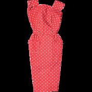 SOLD Vintage Barbie Rust Orange White Dots Sheath Dress Excellent