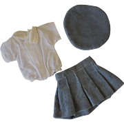 """SALE 4"""" Vintage Gray Corduroy Skirt Top Hat for small Fat bodied 1950s 1960s Doll"""