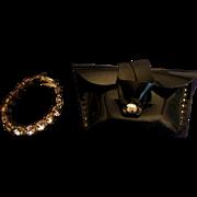 SALE Vintage Jill Vogue Doll Accessory Black Purse and Rhinestone Necklace