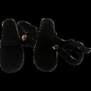 SALE Pair Vintage Jill Vogue Doll Accessory Black Velvet Rhinestone High Heel Shoes