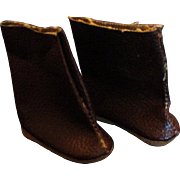 one Pair Vintage Jeff Vogue Doll Textured Leatherette Brown Boots