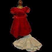 SALE Lovely Vintage Red Velveteen Dress with Slip for 1950s Hard Plastic Fashion Doll