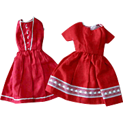 Tammy Other 12 inch Fashion Doll Clone Mommy Made Clothes Two Red Dresses