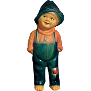 """SALE 5.5"""" Cute Vintage Celluloid 'Our Gang' type Boy Hat Overalls"""