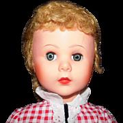 """REDUCED HALF PRICE 30"""" Rare 1962 Uneeda Hard Plastic Pretty Face Pollyanna Dark Blonde ha"""