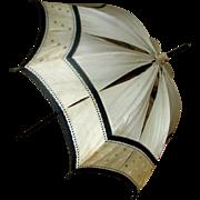 SALE Antique 19th century parasol umrella beige and black silk