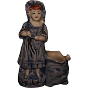 SALE Antique Match Holder or Spill Vase Dutch Girl Blue