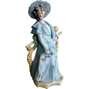 """Lovely 7.5"""" Bisque Figurine Woman Early 20th Century Edwardian"""