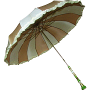 SALE Amazing 19th Century Antique Cream Satin Parasol Dresden Handle Near Mint
