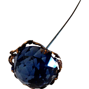 """REDUCED 7"""" Lovely Antique Gold-tone Blue Glass Hat Pin"""