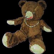 "SALE 17"" Antique Articulated Mohair Black Eye Dark Brown Teddy Bear"