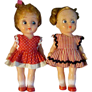 "Pair of Adorable 5"" Early 20th Century Vinyl Kressge Sister Girl Dolls"