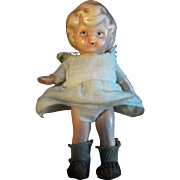 """SALE Adorable 3.5"""" German Painted All Bisque Doll Betty Boop Amazing Shoes and Socks!"""