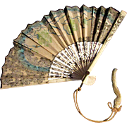 "REDUCED 5"" Hand painted Miniature Fan for Doll Flowers Glitter"