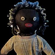 SALE Antique Doll Black Cloth Doll Rag Doll Primitive Folk Art Poilished Cotton Body Unusual