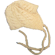 Vintage Handmade Cream knit baby bonnet with ear flaps for Doll Child
