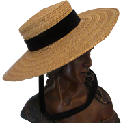 Great Vintage Child or Large Doll Simple Straw hat