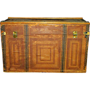 """16"""" Antique Doll Trunk Lithograph Wood Dome Top"""