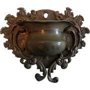 SALE Gold-tone Metal Wall Match Holder Urn Shape with Scroll