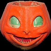 """5.5"""" Vintage Pumpkin Container Candy Holder Papier Mache  Jack O'lantern"""