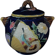"Sweet 5"" Majolica Cobalt Blue Sugar Bowl with Lid Bird Fan"